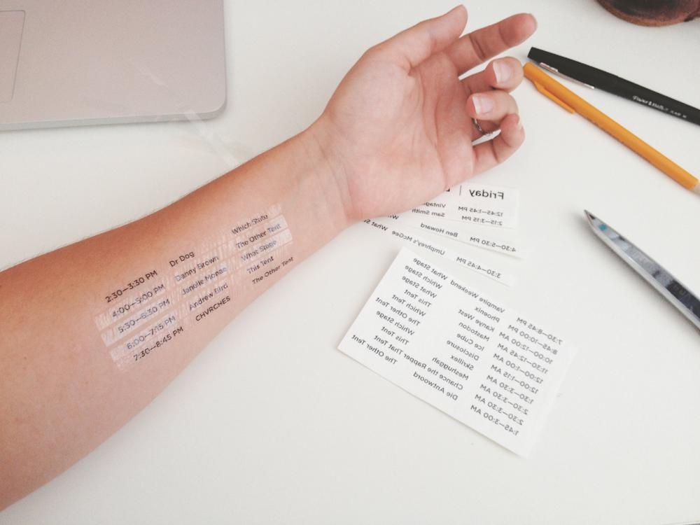 Music Festival Schedule Temporary Tattoos