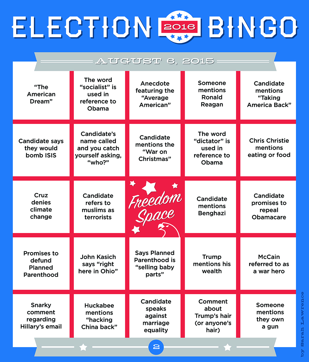 Election Bingo Boards: GOP Debate 2015